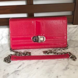 WHBM pink wallet clutch with removable strap